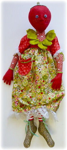 Steffie Strawberry Cloth Doll Making Sewing Pattern by Leslie Molen