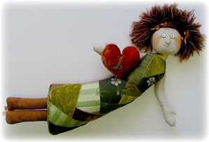 Crazy Quilt Doll Cloth Doll Making Sewing Pattern by Leslie Molen