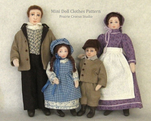 Pioneer Costume cloth doll  Pattern For Miniature Mannequins Family