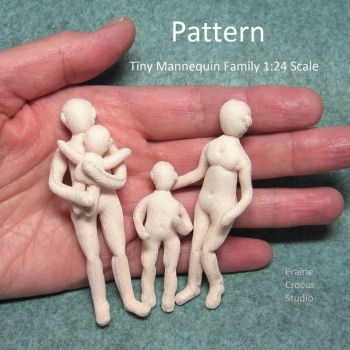 1:24 Scale - Tiny Mannequins Family Cloth Doll Pattern