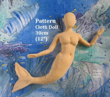 "Mermaid Cloth Mannequin 12"" (30cm) Pattern Cloth Doll Pattern"