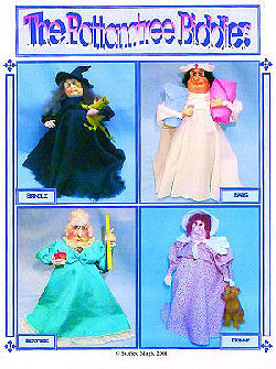 "This pattern has all the makings for turning this amazingly versatile 10-1/2"" stump doll into a collection of wonderful characters - a nurse, a teacher, a witch or a pioneer - with the greatest old lady face you've ever laid eyes on!"