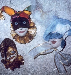 "Three fantastic 4"" cloth Carnivale Masks to hang or wear as a brooch."