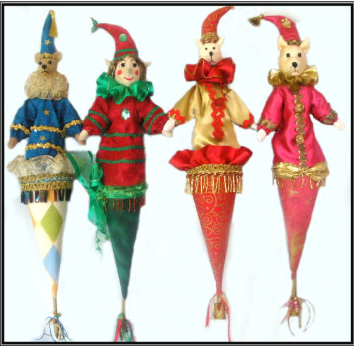 "This wonderful array of 22"" cone puppets features an Elf, Cat, Mouse and Bear."