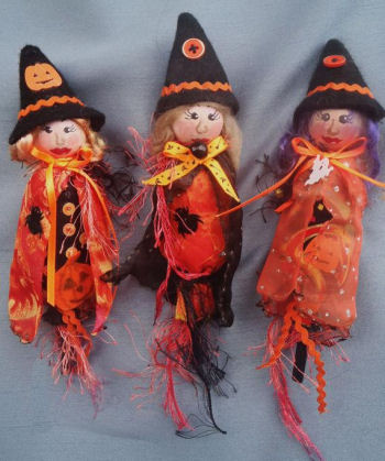 Lil Witches - Halloween Ornaments Cloth  Doll Sewing Pattern