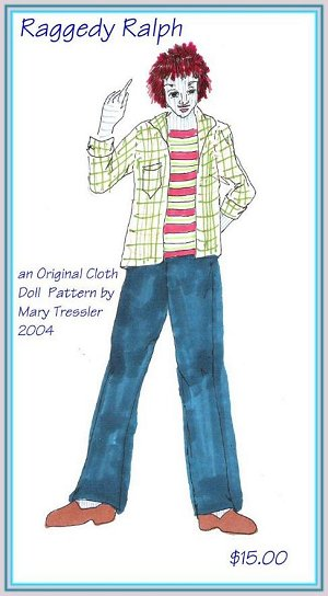 "This dashing blue-striped fellow is 16"" tall to compliment the Raggedy ladies and wears a rusty red wig."