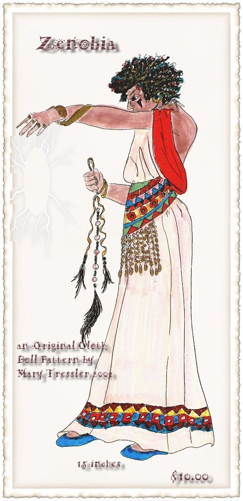 "Garbed in a backless dress and holding her prayer cord this exotic 13"" character is a wonder of color and style."