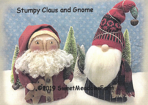 Stumpy Claus and Gnome by Maureen Mills of Sweet Meadows Farm