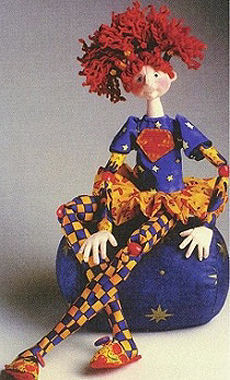 "23"" Zoey is outrageously fun Cloth Doll Pattern. Bead Joint, Needle Sculptured Features and Bendable Fingers."