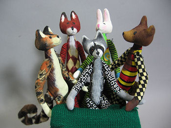 "A fun cloth doll pattern for a whole menagerie of 11"" little animals….cats, dogs, rabbits, mice, bears, foxes, raccoons etc."