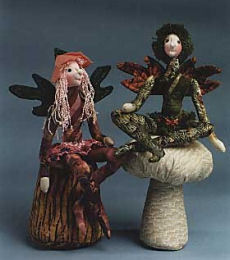 "Cloth Doll Pattern For Dainty little 10"" seated fairies can be made with a felt flower hat or crocheted acorn cap."
