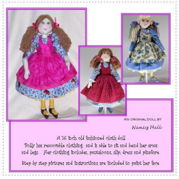 "Polly, designed by Nancy Hall, is a charming 16"" little lady. The pattern has detailed instructions and color step by step photos to create her face."