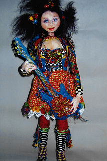 "18"" gal and her amazing guitar. Cloth Doll Making Soft Sewing Fabric Pattern"