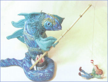 Angler, Fisher of Men  Mixed-Media Cloth Doll by Patti LaValley