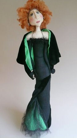 "all and thin, this 25"" jazz singer is not your typical stump doll as she has the option for her leg/foot in stiletto heel to show out the side slit of her tight black silk dupioni dress.  Art Doll Sewing Pattern Available"