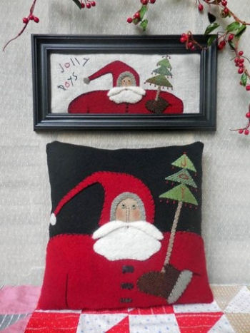 "Two holiday projects in one pattern! A 12"" Wool Pillow & a Framed Applique (may be done without frame)."