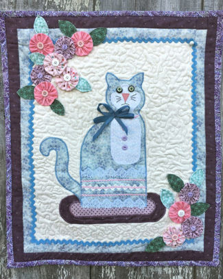 Cat and Yo Yo Flowers Applique Wall Hanging Sewing Pattern