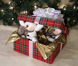 "What a delightful centerpiece these 7"" snowmen would make peeking out of their fabric covered papier mache box."