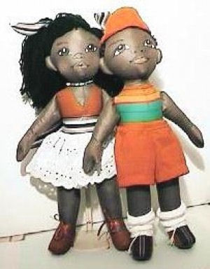 Sisi and BoBo African American Cloth Childern Dolls.