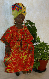 "Use a variety of colorful African prints to create this beautiful 12"" queen. Cloth Doll Making Sewing Pattern"
