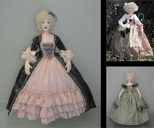 "Magnificent 17"" stump doll with three fabulous costumes – Evening Gown, Afternoon Gown and Shepherdess outfit – all in one pattern."