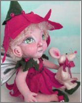 Poinsettia Fairy doll with toy Mouse