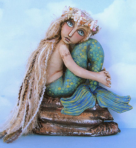 Mermaid on Rock Cloth Art Doll Sewing Pattern