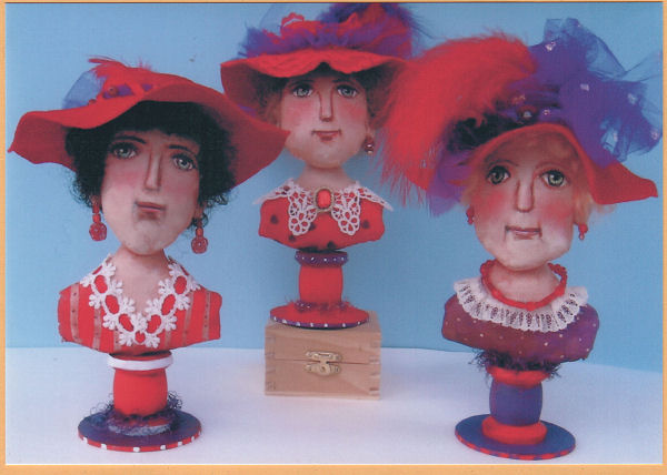 "zesty 8"" painted muslin Red Hat Ladies are perched on wooden spools sewing pattern"
