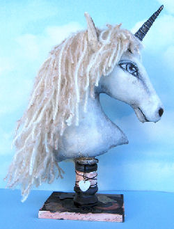 "12"" unicorn head with yarn mane sewing directions and pattern"