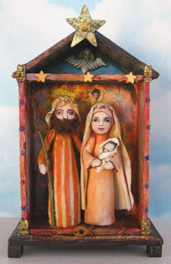 "his charming folk art Nativity grouping is set in a 6"" x 10"" foam core board house that is decorated with paint, paper, stickers and fabric of your choosing. The 6"" figures are sewn and then painted."