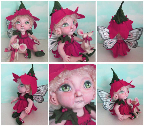 Poinsettia Fairy doll with toy Mouse - CD Cloth Doll Making Pattern