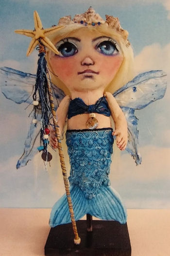 "Gale 15"" painted fabric mermaid Cloth Doll Pattern"