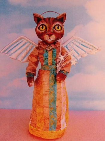 "The pattern includes instructions on making this 14"" painted muslin cat angel."