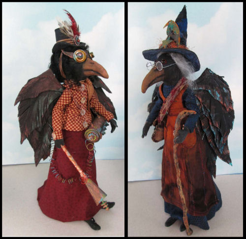 Witch and Steampunk Crow Dolls - CD Class - Cloth Dolls by Susan Barmore