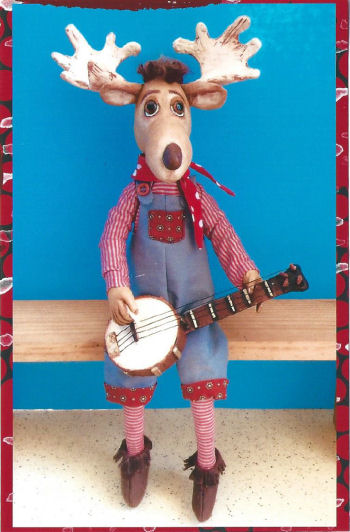 "Banjo Moose – 17"" Painted Muslin Moose - Cloth Animal Doll Sewing Pattern"