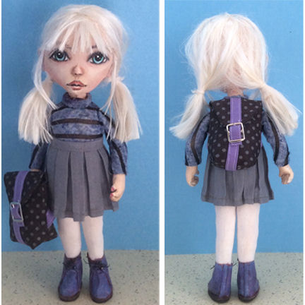 School Girl with Backpack, Doll Pattern, Sewing Project, Art Doll