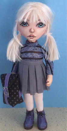 "12"" School Girl With Backpack Cloth Art Doll Pattern by Susan Barmore"