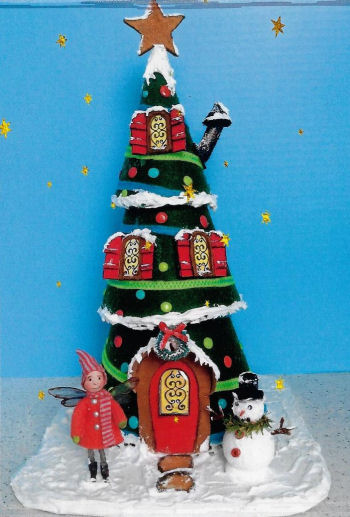 "15"" Felt Christmas Tree House Art Doll Sewing Pattern"