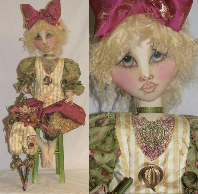 "Sweet Pea Graceful 36"" flat faced doll holding her marionette Lil Snips"