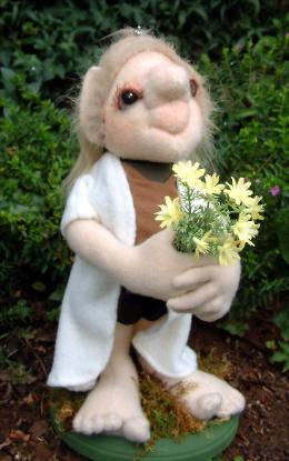 "Sweet little 14"" Troll girl with a bouquet of flowers."