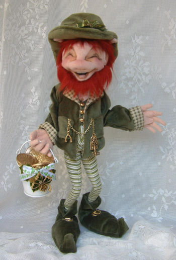 "This charming 14"" free-standing Leprechaun with his pot of gold coins is sure to bring you Good Luck!"