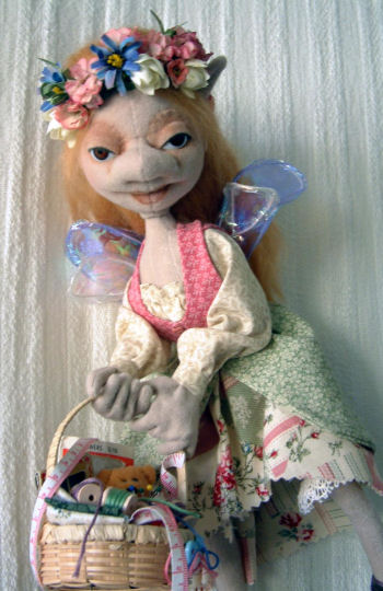 "This gentle 14"" sewing fairy will hang above you with her basket of sewing goodies. Cloth Doll Sewing Pattern"
