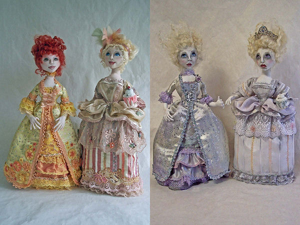 "Based on a portrait of two famous Antoinettes – Marie and Jeanne – these exquisite 19"" stump dolls are dressed in gorgeous period costumes."