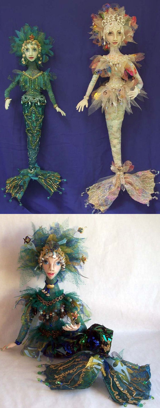 "gorgeous mermaid that comes in two sizes 17"" & 22"" cloth sewing doll making pattern"