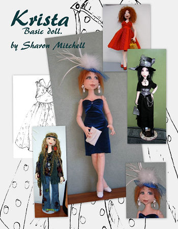 "Krista - This 20"" beauty has a fully sculpted face and body and can be dressed in any style. A wire armature holds the ankles firm for easy posing.  Cloth Doll Making Sewing Pattern.  Art Doll"
