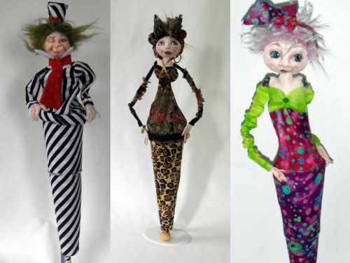 "19"" Cone Dolls with a wonderful array of variations - Art Doll Pattern"