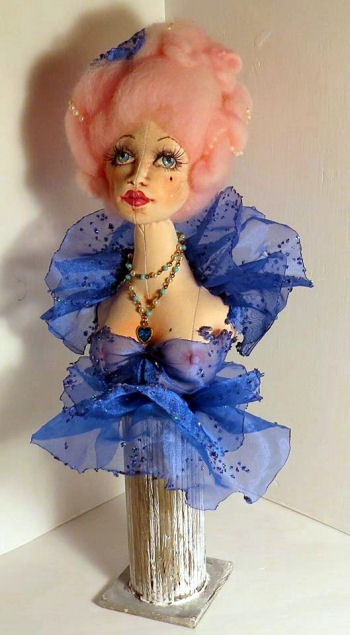 Depicted here as Marie Antoinette, this bust can be anyone! The bust figure is approximately 7 inches (18 cm) high. The hair and the stand make it taller. Cloth Doll Making Pattern