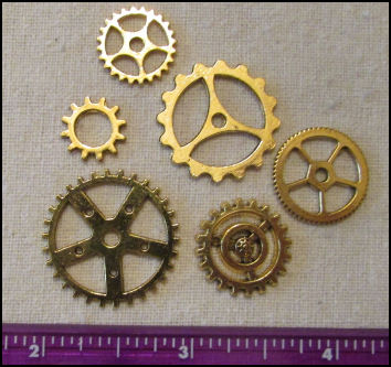 Steampunk Gears for Art Dolls - Gold Combo - 6