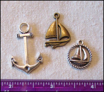 Steampunk Trinkets - Nautical Theme for Art Dolls - Bronze sailboat, silver anchor, & silver rope circle sailboat