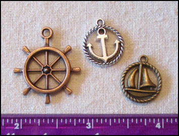 Steampunk Trinkets - Nautical Theme for Art Dolls - Bronze ship's wheel, silver rope circle anchor, & bronze rope circle sailboat